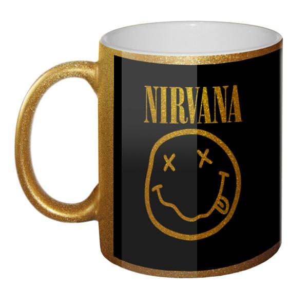 Кружка золотистая Nirvana (желтый принт на черном фоне)