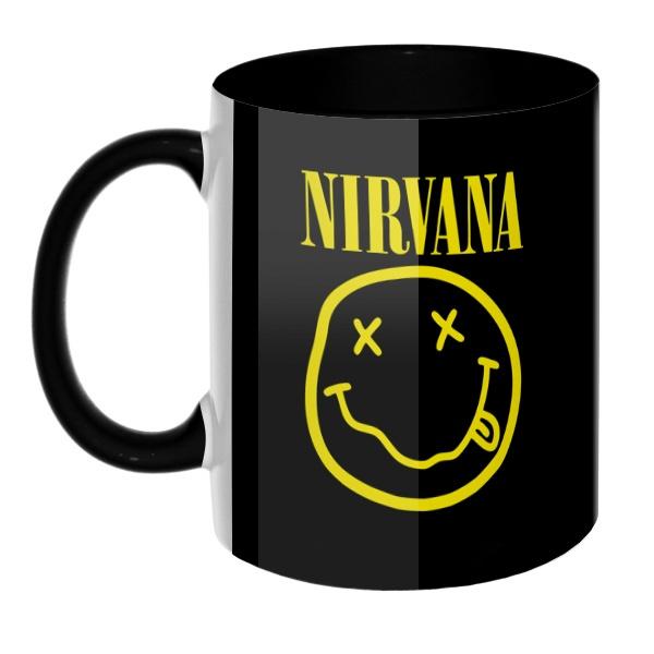 3D-кружка Nirvana цветная внутри и ручка, цвет черный