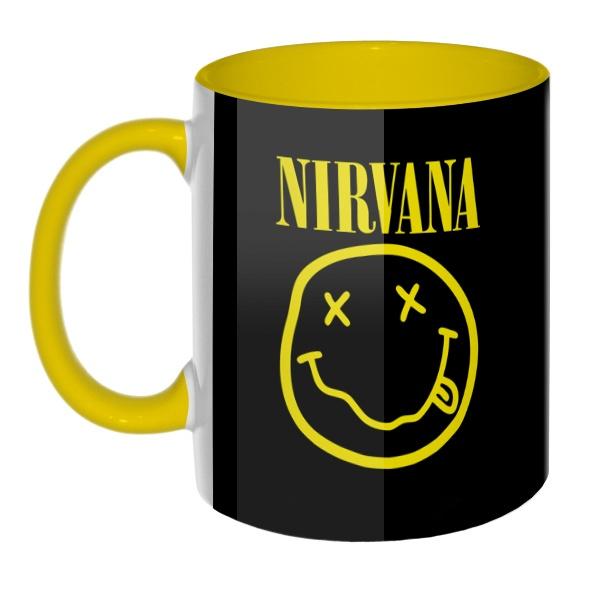 3D-кружка Nirvana цветная внутри и ручка, цвет желтый