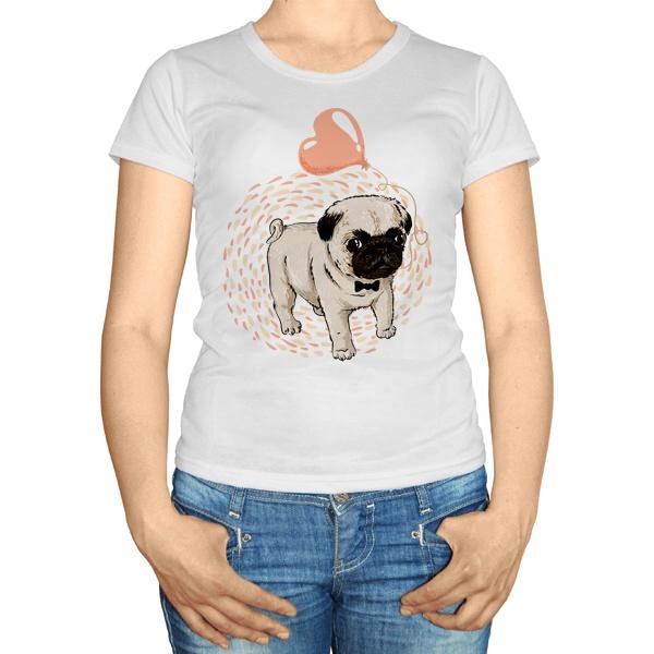 Женская футболка Мопс с сердечком