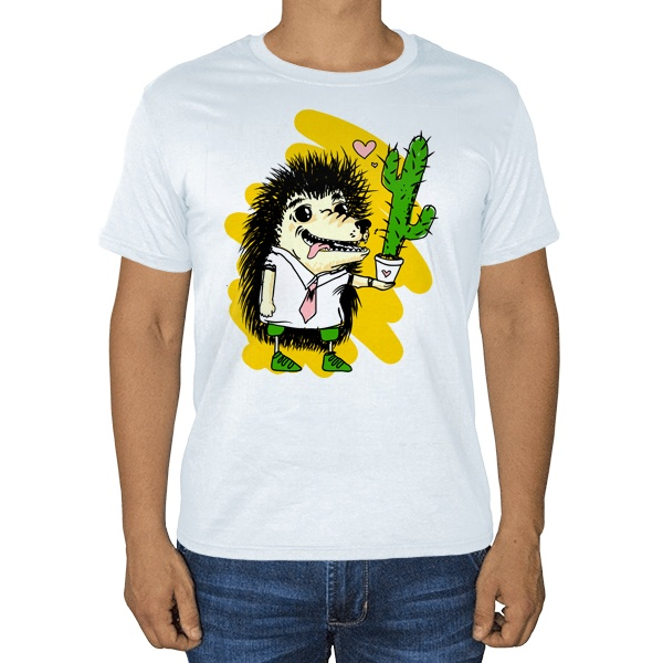 Ёжик с кактусом, белая футболка
