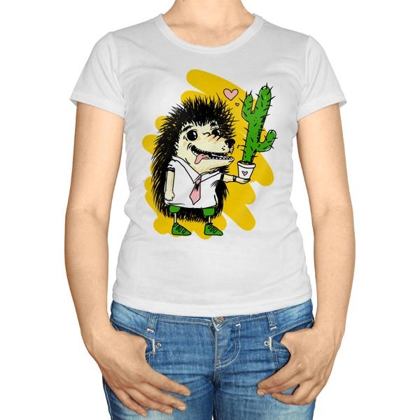 Женская футболка Ёжик с кактусом