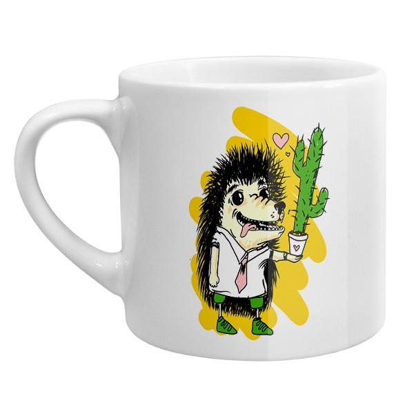 Кофейная чашка Ёжик с кактусом