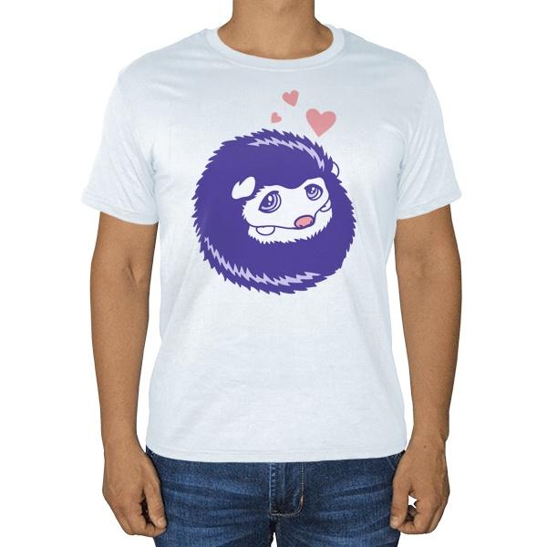 Милый ежик, белая футболка