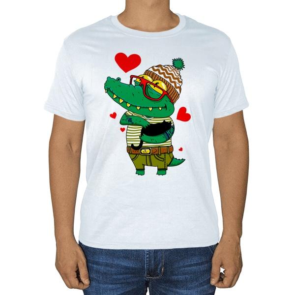 Влюбленный крокодил, белая футболка
