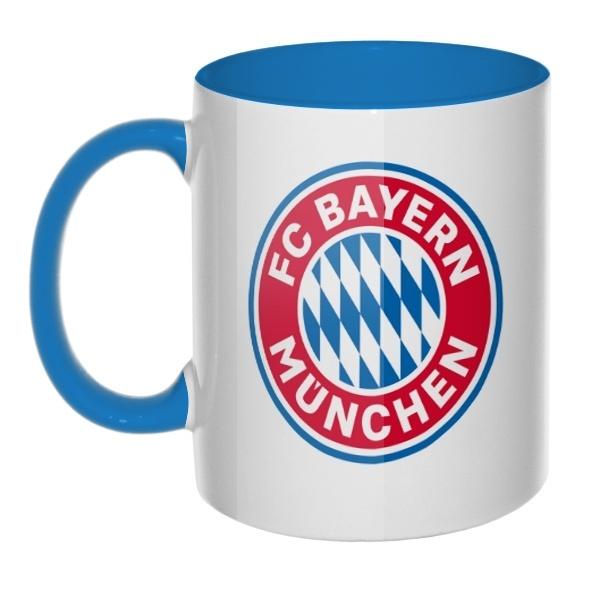 Кружка FC Bayern Muchen цветная внутри и ручка, цвет голубой