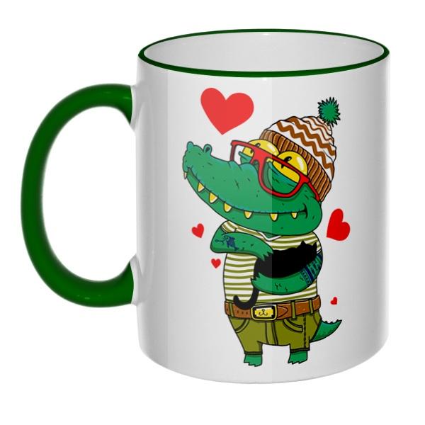 Кружка Влюбленный крокодил с цветным ободком и ручкой