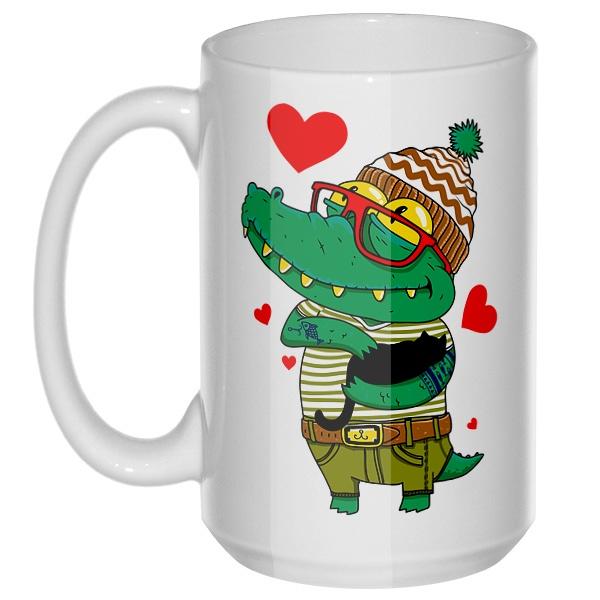 Влюбленный крокодил, большая кружка с круглой ручкой