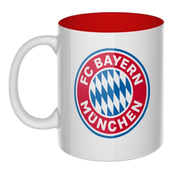 Кружка цветная внутри FC Bayern Muchen, цвет красный