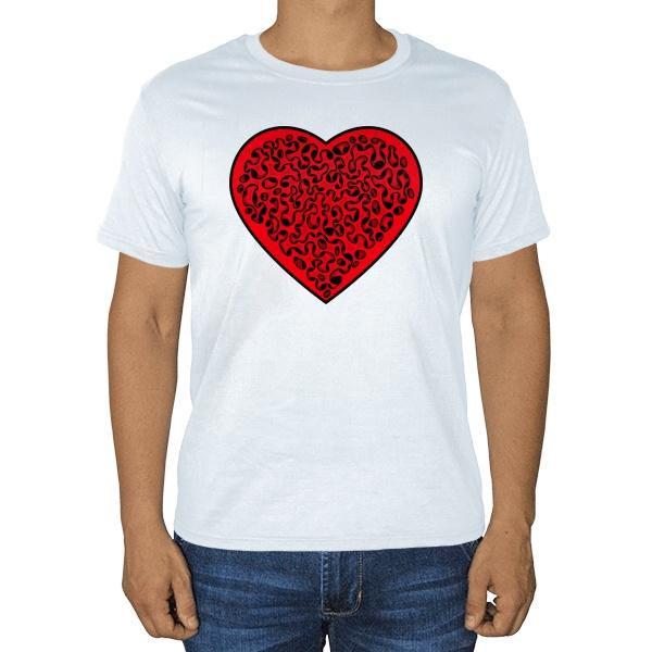 Сердце, белая футболка