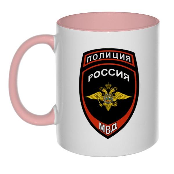 Кружка Полиция МВД России (цветная внутри и ручка)