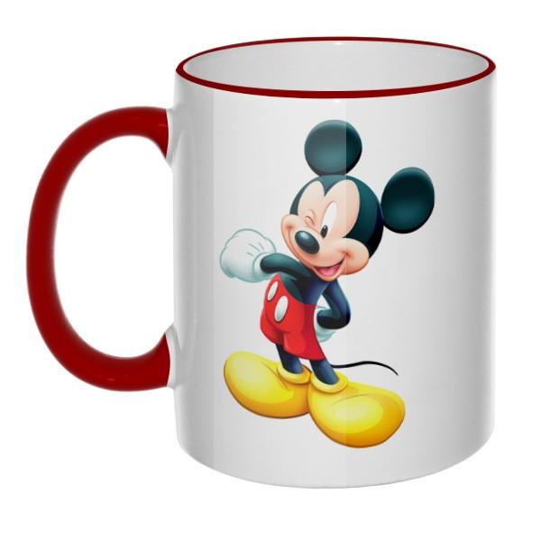 Кружка Микки Маус с цветным ободком и ручкой, цвет бордовый