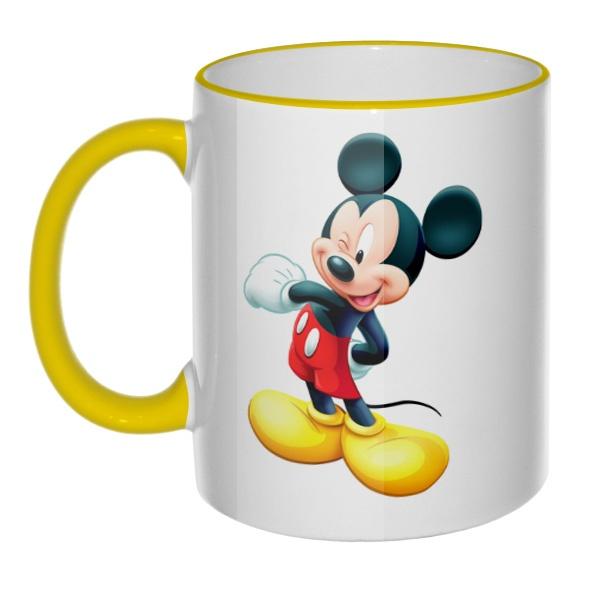 Кружка Микки Маус с цветным ободком и ручкой