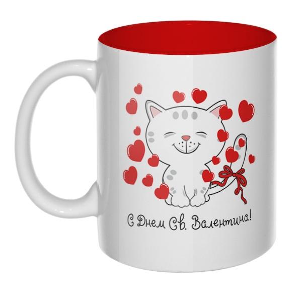 Котик поздравляет с Днем Св. Валентина, кружка цветная внутри