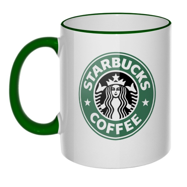 Кружка Starbucks Coffee с цветным ободком и ручкой, цвет зеленый