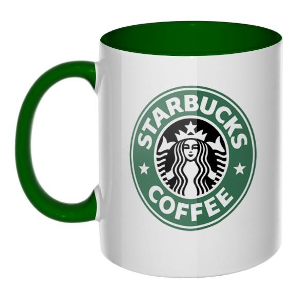 Кружка Starbucks Coffee цветная внутри и ручка, цвет зеленый
