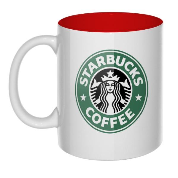 Кружка цветная внутри Starbucks Coffee, цвет красный