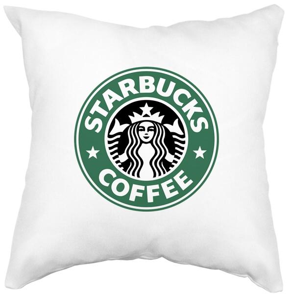 Подушка белая Starbucks Coffee