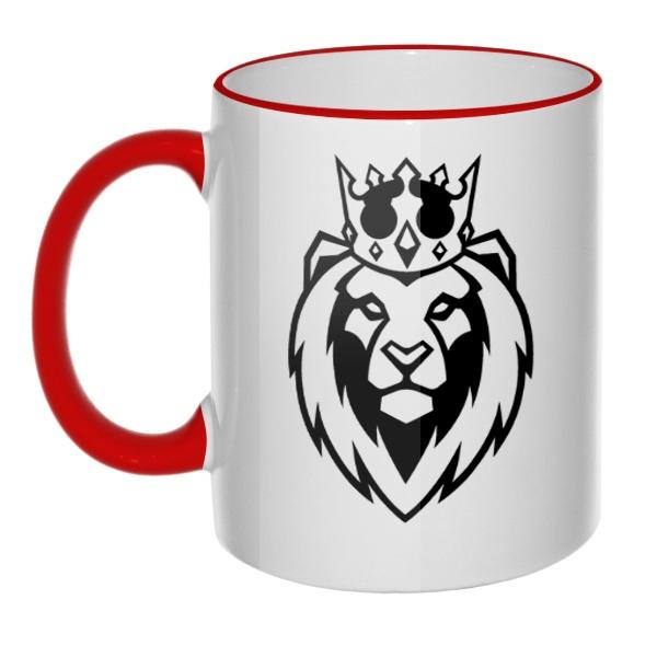 Кружка Лев в короне с цветным ободком и ручкой