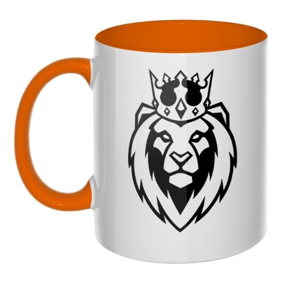 Кружка Лев в короне цветная внутри и ручка