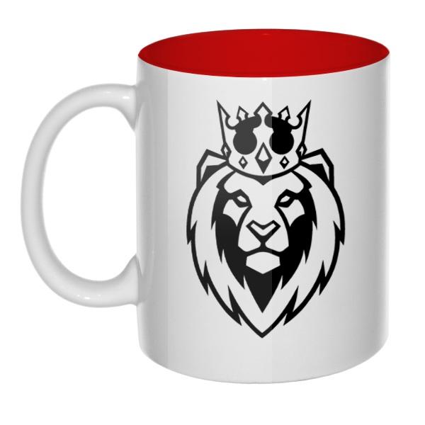 Кружка цветная внутри Лев в короне
