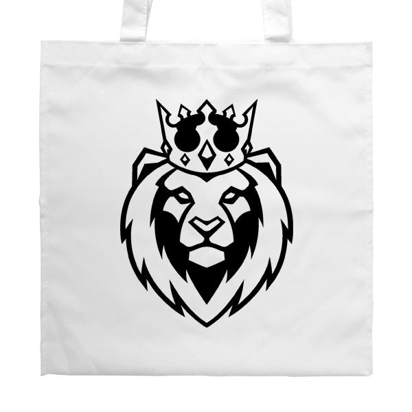 Белая сумка Лев в короне, цвет белый
