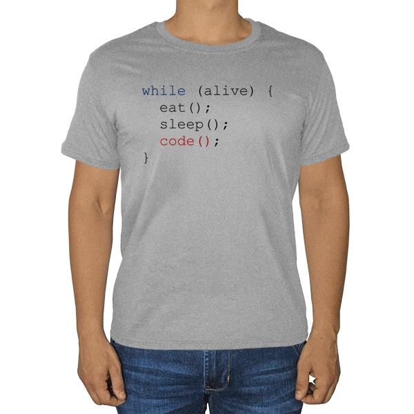 Программисту, серая футболка (меланж)