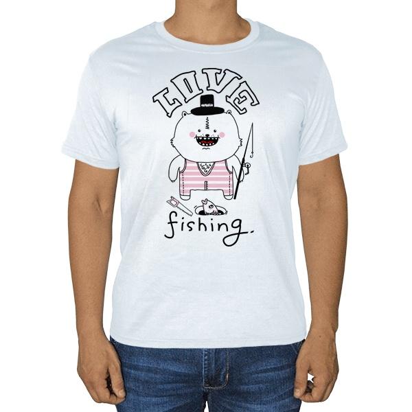 Love fishing, белая футболка