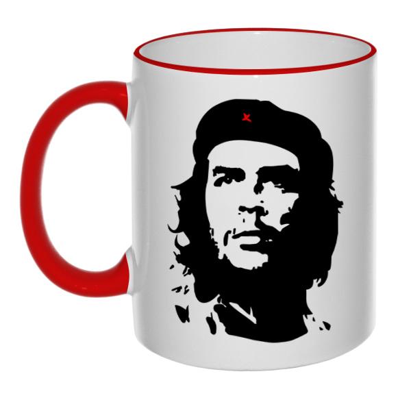 Кружка Че Гевара с цветным ободком и ручкой, цвет красный