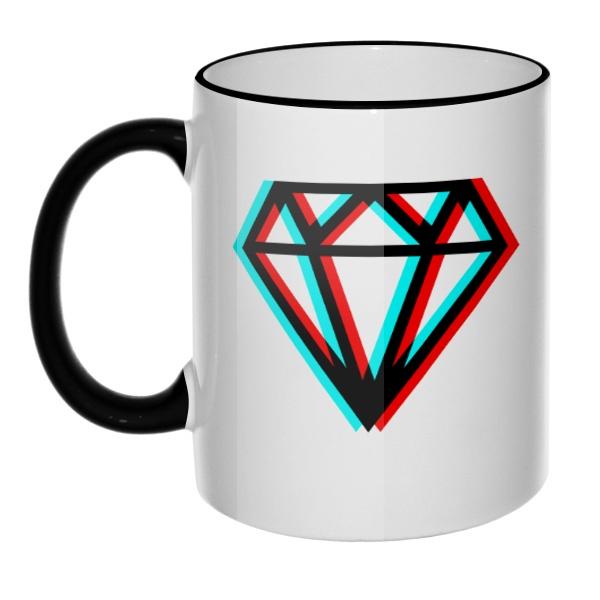 Кружка Стерео бриллиант с цветным ободком и ручкой, цвет черный