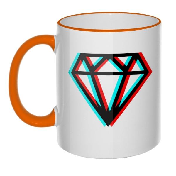 Кружка Стерео бриллиант с цветным ободком и ручкой, цвет оранжевый