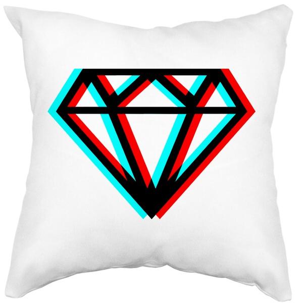 Подушка белая Стерео бриллиант