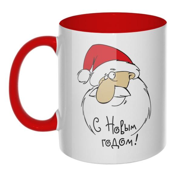 С Новым годом (Дед Мороз), кружка цветная внутри и ручка
