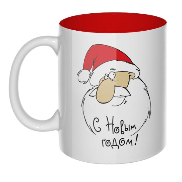 Кружка цветная внутри Дед Мороз поздравляет с НГ