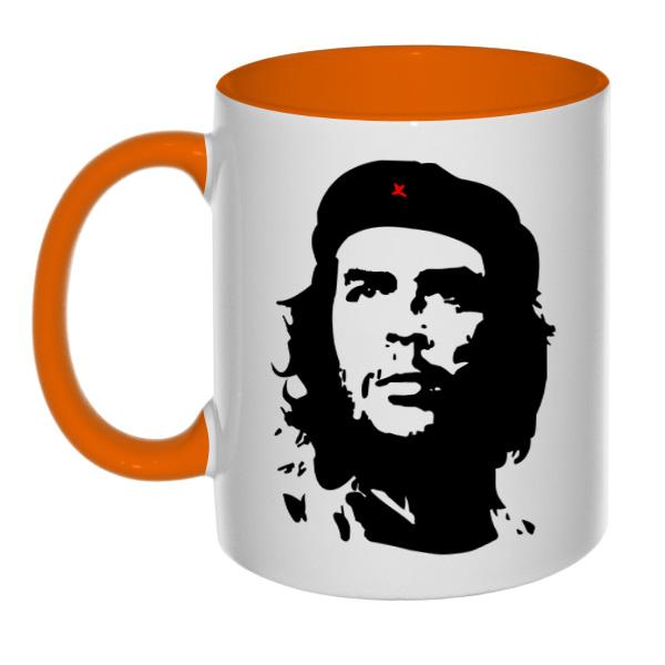 Кружка Че Гевара (цветная внутри + цветная ручка), цвет оранжевый