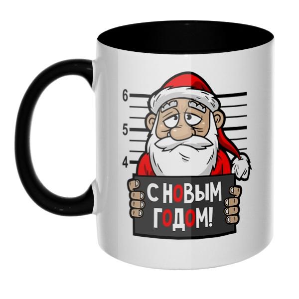 Арестованный Дед Мороз, кружка цветная внутри и ручка