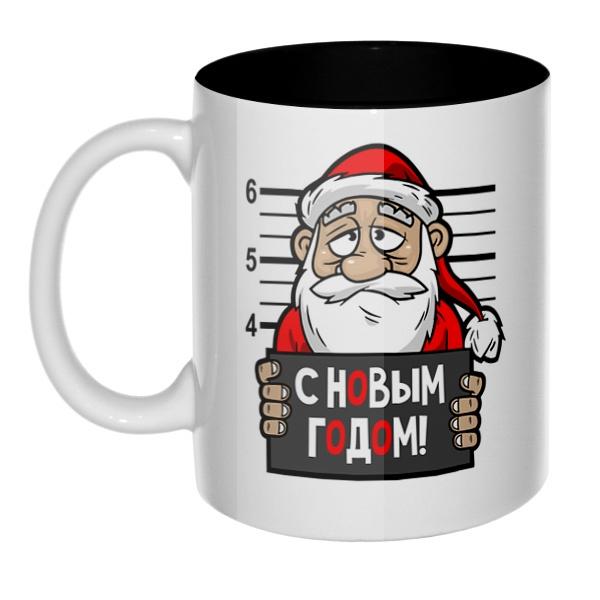 Арестованный Дед Мороз, кружка цветная внутри