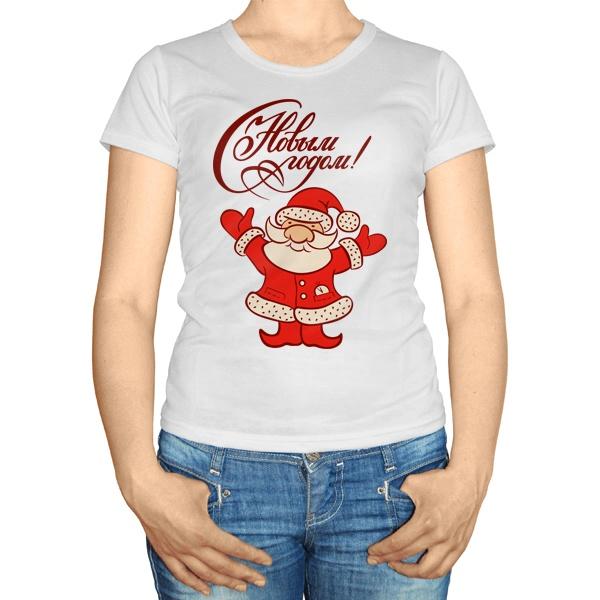 Женская футболка Санта Клаус Новый год