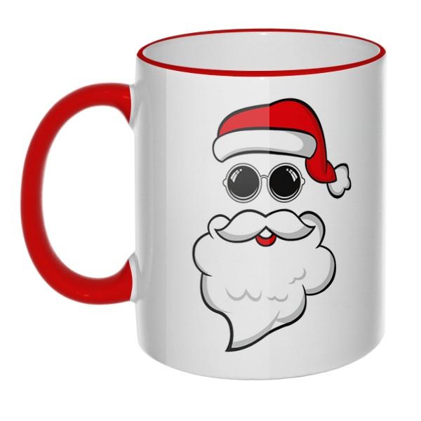Кружка Дед Мороз в очках с цветным ободком и ручкой