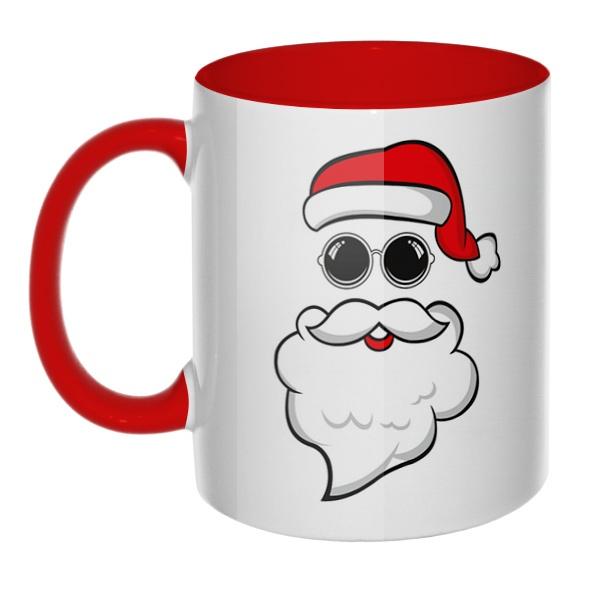 Дед Мороз в очках, кружка цветная внутри и ручка