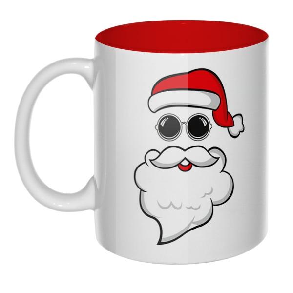 Дед Мороз в очках, кружка цветная внутри