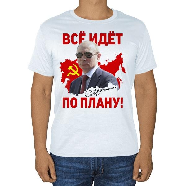 Белая футболка Все идет по плану (Путин)
