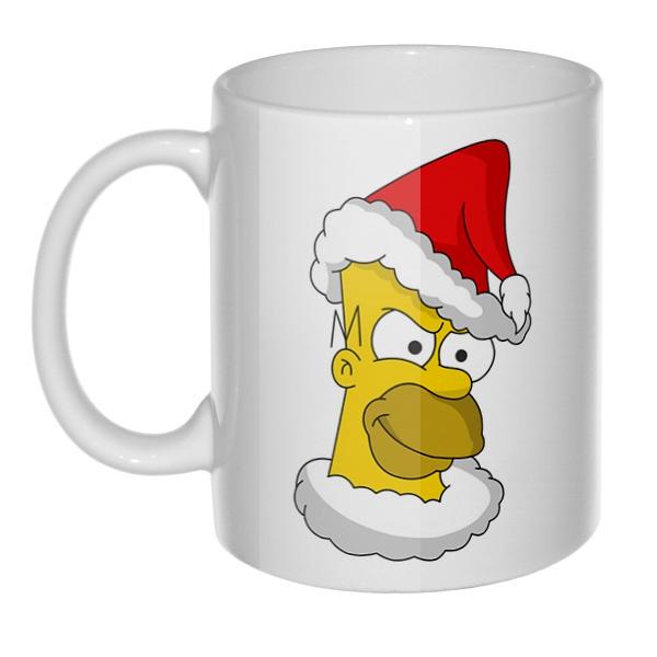 Кружка Гомер Симпсон Санта Клаус