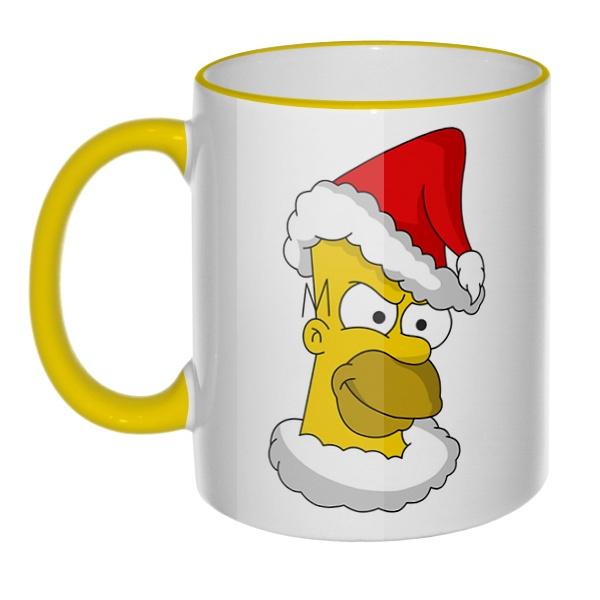 Кружка Гомер Симпсон Санта Клаус с цветным ободком и ручкой