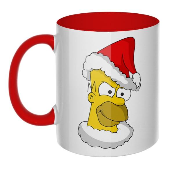 Гомер Симпсон Санта Клаус, кружка цветная внутри и ручка