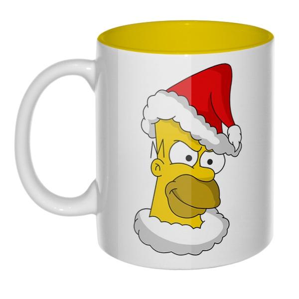 Гомер Симпсон Санта Клаус, кружка цветная внутри