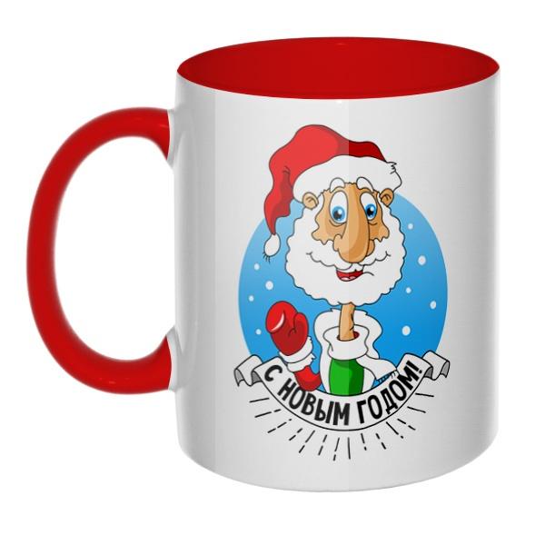 Дед Мороз поздравляет с Новым годом, кружка цветная внутри и ручка