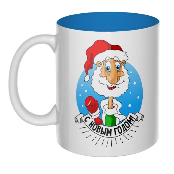 Дед Мороз поздравляет с Новым годом, кружка цветная внутри