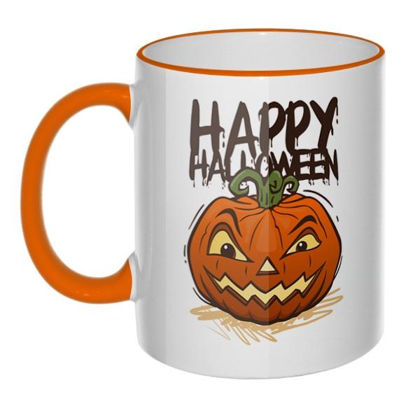 Кружка Happy Halloween с цветным ободком и ручкой
