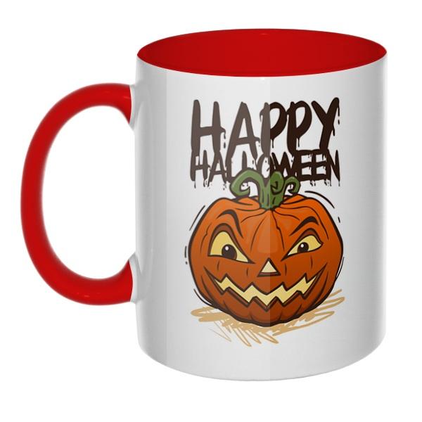 Happy Halloween, кружка цветная внутри и ручка
